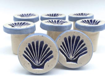 Scallop Shell Knob, Blue and White Knob, Ceramic Knobs, Drawer Pulls, Shell Knobs,  Cabinet Pulls, Nautical Knobs, Beach House Decor