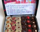 SPRING SALE 25% OFF A box of 24 raw vegan chocolates made by Happy Herbi. Only the bestsellers. Organic.  No gluten added