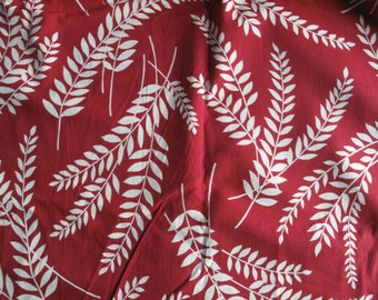 9 Yards - Vintage 1930s 1940s Cotton Fabric - Leaf Fern Print - Red White