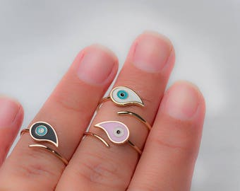 Evil Eye Ring Solid Gold Ring Teardrop Enamel Ring Elegant solid 14k Gold Evil gift for her womens gift for wife