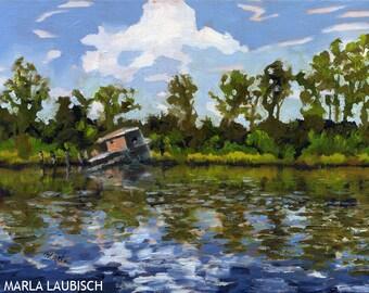 Cape Fear River Tugboat original oil painting