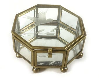 Vintage Glass and Brass Display Box - Hinged Lid, 8 Sided, Brass Feet, Mirrored Base, Etched Bird in Lid