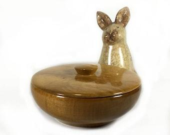 Vintage Lidded Wood Bowl, Oregon Myrtlewood, Oregon Souvenir, Bayview Myrtlewood Shop