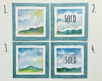 "Sky Series 2 - 6"" card w/envelope, original watercolor, frameable art, not a print"