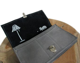 big grey leather wallet screenprint lamp cat
