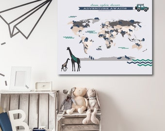 Map, Nursery map, Interactive Map for Nursery, Child's Room or Playroom // Mark places visited // Choice of print Size & Type//N-I02-1PS AA4