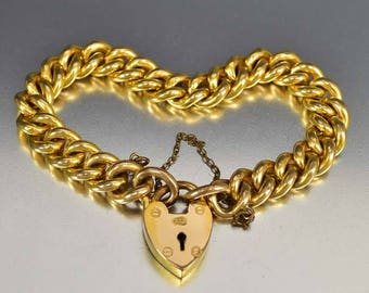 Antique Padlock Curb Chain Bracelet, Gold Charm Bracelet, Heart Padlock Bracelet, European Antique Jewelry, Antique Victorian Bracelet