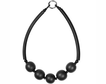 Black resin and rubber necklace, chunky statement design by Frank Ideas
