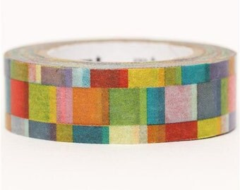 174388 rectangle pattern mt Washi Masking Tape deco tape green