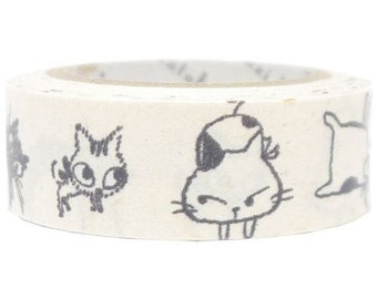210847 white cute and funny cat Banana Paper Washi Masking Tape deco tape