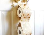 Toilet Tissue Holder...Gold Dots Printed Burlap...Bathroom Decor