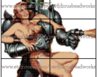 PATTERN: Startling Stories Robot and Busty Girl Cross Stitch Chart