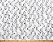 """End Of Bolt Cotton Quilting Fabric By The Yard BTY Black Wavy Lines and Curls on White Background 45"""" x 45"""" 1.25 Yards (sku BTY198-00016)"""