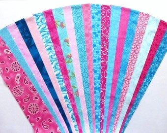 Fabric Pink Teal Cotton Jelly Roll Quilting Strip Pack Material Die Cut 20 Strips No Dups (sku JR120-PITEyd)