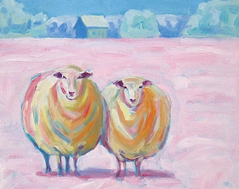 Summer Sheep - Sheep Art - Sheep Print - Paper - Canvas - Wood Block