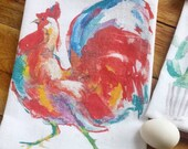 Rooster Dish towel, rooster dishtowel,  rooster kitchen gifts,chicken themed gifts, rooster tea towel, colorful chicken, cockadoodledoo