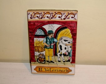 Italian Tile Veterinarian Country Animal Doctor Majolica Italy Vintage