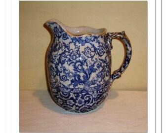Victorian Pitcher Blue Antique Floral Transfer Pattern English Pottery Gold Trim Milk Water Vase Royal