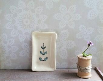 Small leaf tray, hand drawn blue leaf dish, small spoon rest, leaf home decor.