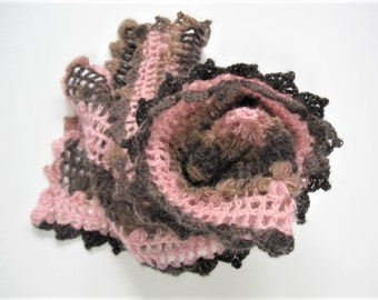 """Crochet flower scarf, W7"""" xL52"""", cherry blossom scarf, light weight scarf, scarf for women, pink camo, picot edging scarf,"""