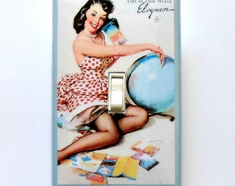 Pin up Switchplates in Blues with MATCHING SCREWS- Science fiction pinup space girl  Gil Elvgren pin up the color blue gag switch pinup art