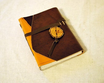 SUMMER SALE:  Medium Sunny Leather Patchwork Journal with Recycled Paper