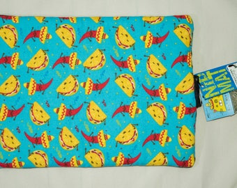 Refillable Nip Mat Catnip Toy and Cat Bed - Tacos and Peppers Pattern