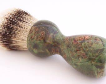 Green Maple Burl Wood 26mm Super Silvertip Badger Hair Shaving Brush Handle (Handmade) G1 - 5th Anniversary Gift - Shaving Kit