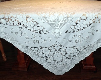 Vintage Quaker Lace Overlay Lace Tablecloth  White House Pattern 6280 ECS SVFT