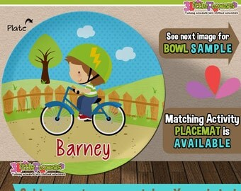 Bicycle Boy Plate and Bowl Set - Personalized Plastic Children Plate Cereal Bowl - Choose TRAITS color - Personalized Bike Plate and Bowl