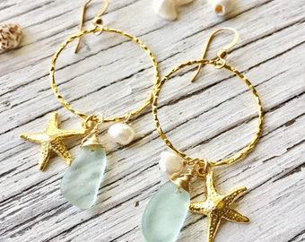 Sea Glass Hoop Earrings Gold Beach Charms