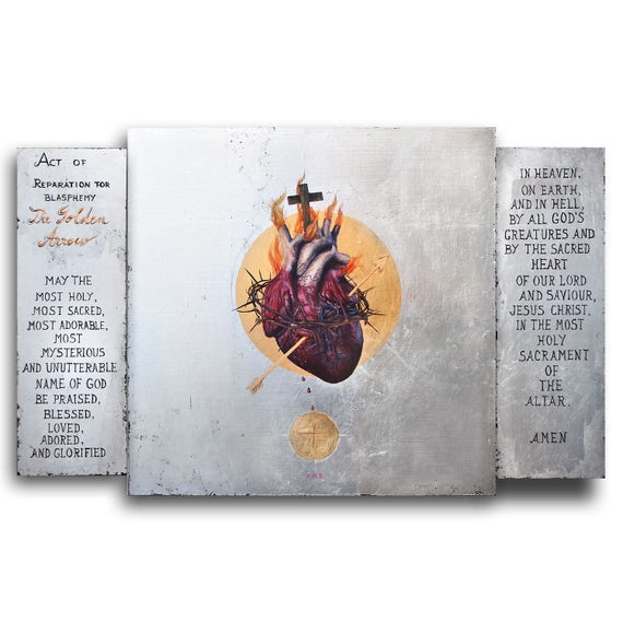 The Sacred Heart of Jesus: The Golden Arrow - original acrylic painting with 23K gold leaf