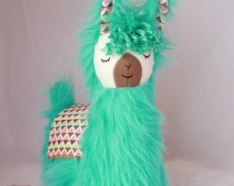 Turquoise Blue Green Llama Alpaca Pillow