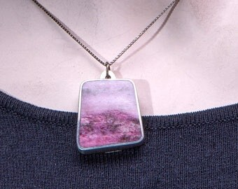Vintage Norway Sterling Pendant - Mid Century Modernist - Rose Quartz