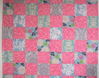 Pink and Aqua Patchwork Blanket, Quilt, Baby Blanket, Crib Quilt, Lap Quilt, Fleece Back Quilt, Made in America