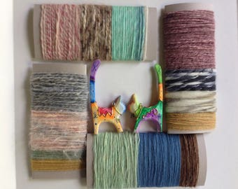 ALL WOOL yarn bundle, felt felting, hand spun hand dyed, lot destash, brown beige pink blue green, worsted bulky i650 Life's an Expedition