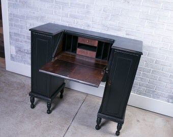 Antique Black Refinished Side by Side Desk