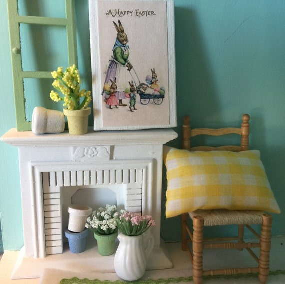 """Miniature Dollhouse Vintage style Easter bunny picture 2"""" x 3"""""""