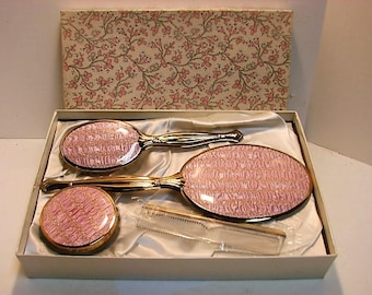 Pink Quilted & Brass Dresser Vanity Set in Original Box ca: 1950s Like New Condition, Vintage Hair Brush Comb Mirror Jar Set