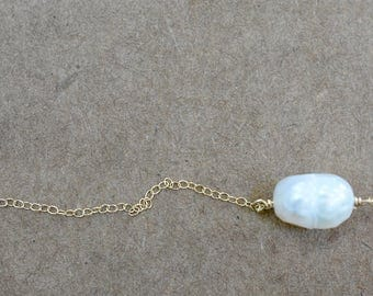 freshwater pearl pendant necklace. gold filled chain. unique faceted pearl pendant. fresh water pearl jewelry. single pearl pendant