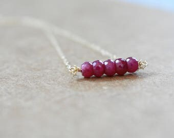 genuine ruby bead bar necklace on 14k gold filled chain. ruby bar pendant necklace. minimalist modern ruby jewelry