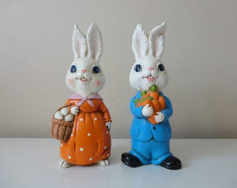 VINTAGE pair of boy and girl BUNNY RABBITS