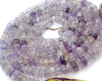 "Ametrine Gemstone Bead. Semi Precious Gemstone. Faceted Rondelle, 4 to 4.5mm. Strand 1"" to 13"" Your Choice. (51amt)"