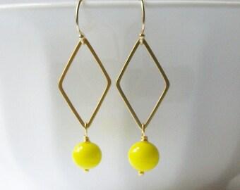 Neon Yellow Dangle Earrings, Upcycled Dangle Earrings, Eco-Friendly Earrings