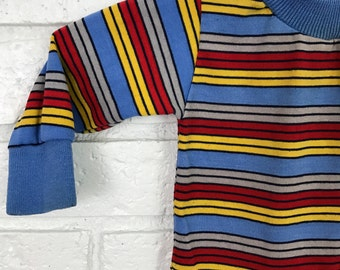 1980s Child's Health-tex Striped Long Sleeved Shirt / 12 Months Vintage Ringer Top USA