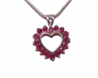 Vintage Pendant/STERLING SILVER Pendant/Ruby Heart/Ruby Pendant/Heart Pendant/Mothers Day Gift/Valentines Day Gift/July Ruby Birthstone