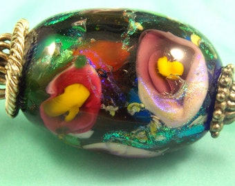 Beautiful Floral Glass Bead, 67x28MM, with chain connector only 1.