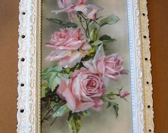 Pink Cabbage Roses, Art Print, Catherine Klein, Antique Frame, Half Yard Long