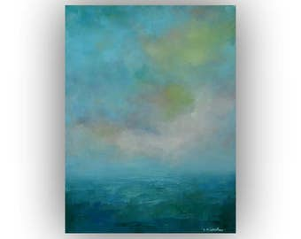 Small Abstract Seascape- 12 x 16 Blue Ocean Sky and Clouds Oil Painting- Original Palette Knife Art on Canvas