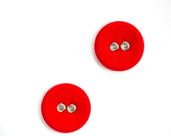 Fabric covered buttons - Set of two large linen buttons in vintage style - Retro bright scarlet red color